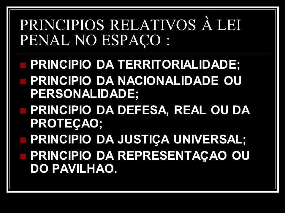 PRINCIPIOS RELATIVOS À LEI PENAL NO ESPAÇO : PRINCIPIO DA TERRITORIALIDADE; PRINCIPIO DA NACIONALIDADE OU PERSONALIDADE; PRINCIPIO DA DEFESA, REAL OU