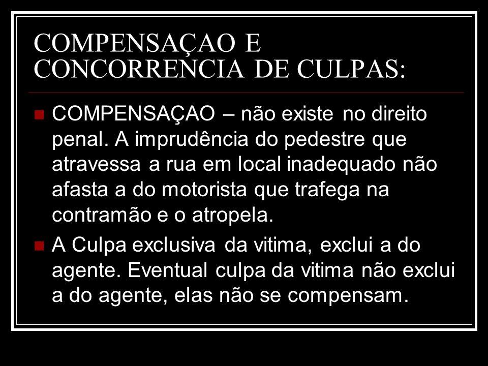 COMPENSAÇAO E CONCORRENCIA DE CULPAS: COMPENSAÇAO – não existe no direito penal. A imprudência do pedestre que atravessa a rua em local inadequado não