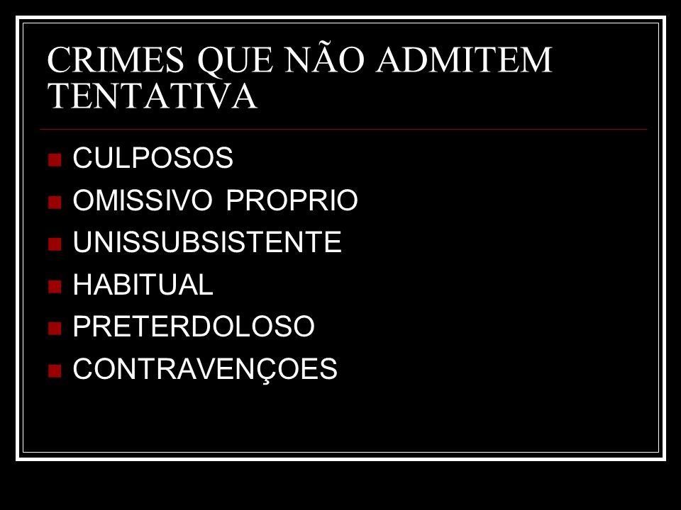 CRIMES QUE NÃO ADMITEM TENTATIVA CULPOSOS OMISSIVO PROPRIO UNISSUBSISTENTE HABITUAL PRETERDOLOSO CONTRAVENÇOES