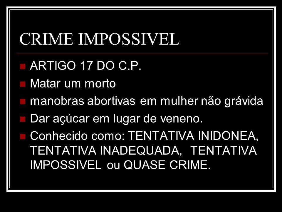 CRIME IMPOSSIVEL ARTIGO 17 DO C.P. Matar um morto manobras abortivas em mulher não grávida Dar açúcar em lugar de veneno. Conhecido como: TENTATIVA IN