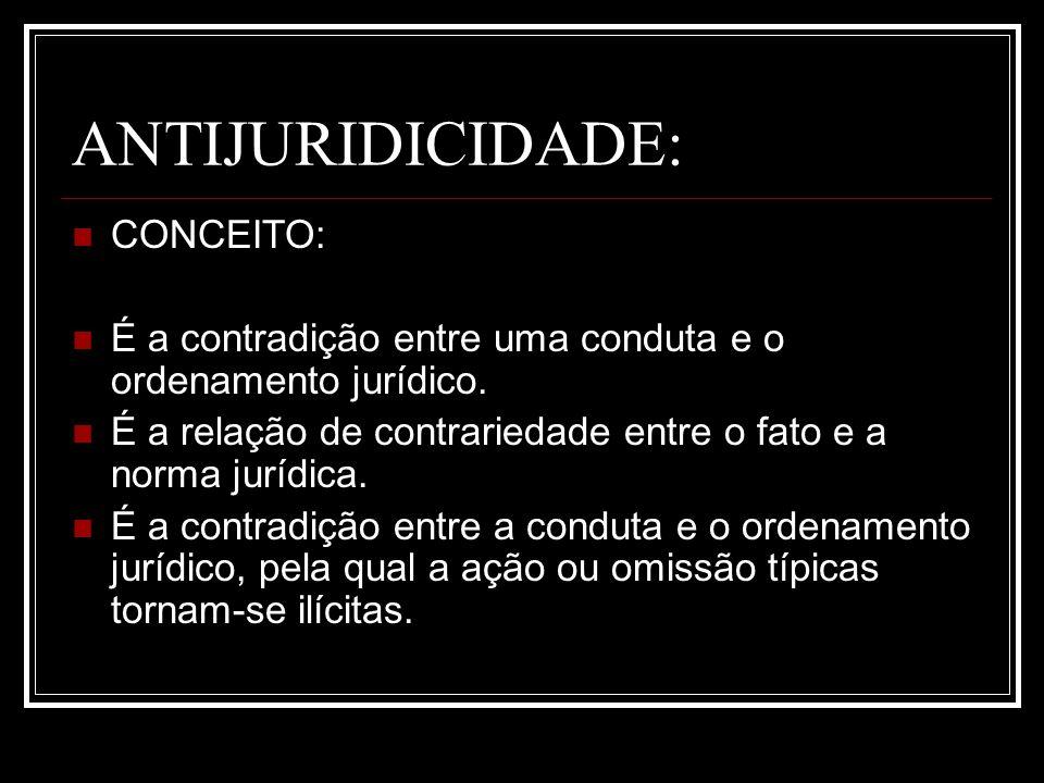ANTIJURIDICIDADE: CONCEITO: É a contradição entre uma conduta e o ordenamento jurídico. É a relação de contrariedade entre o fato e a norma jurídica.