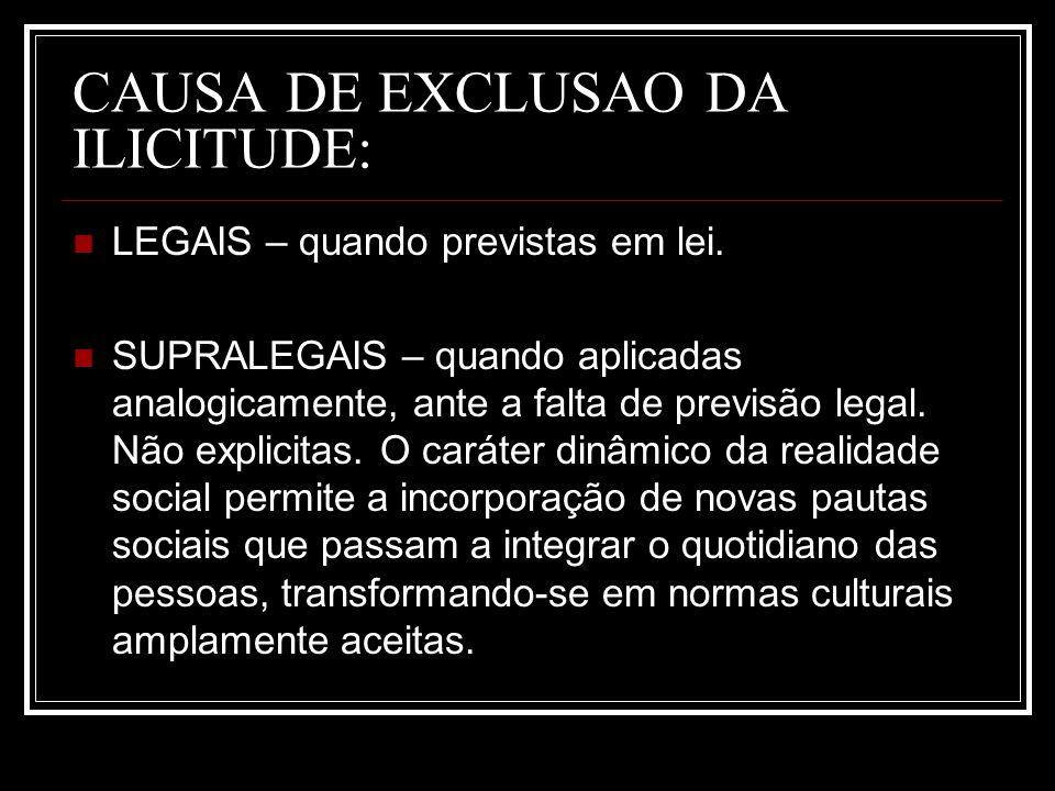 CAUSA DE EXCLUSAO DA ILICITUDE: LEGAIS – quando previstas em lei. SUPRALEGAIS – quando aplicadas analogicamente, ante a falta de previsão legal. Não e
