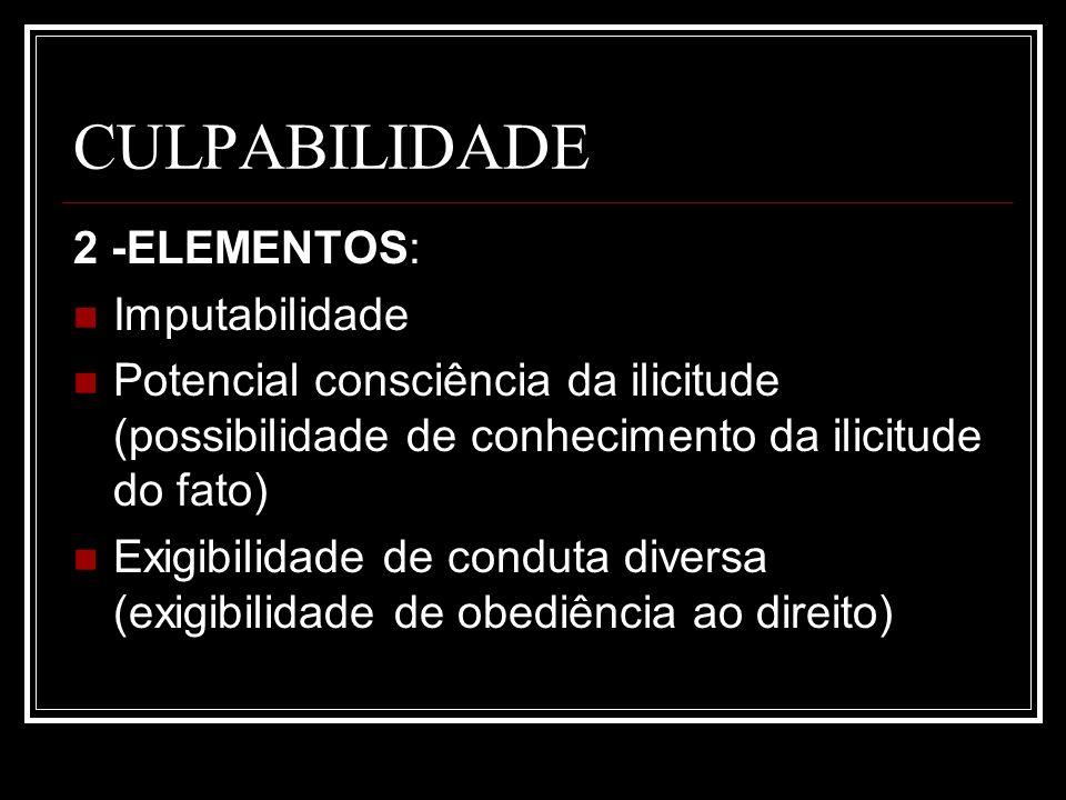 CULPABILIDADE 2 -ELEMENTOS: Imputabilidade Potencial consciência da ilicitude (possibilidade de conhecimento da ilicitude do fato) Exigibilidade de co
