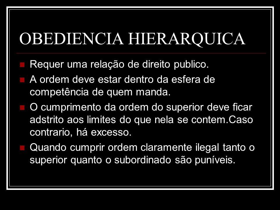 OBEDIENCIA HIERARQUICA Requer uma relação de direito publico. A ordem deve estar dentro da esfera de competência de quem manda. O cumprimento da ordem