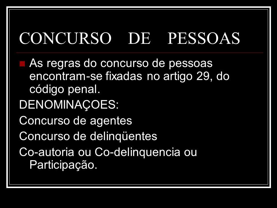 CONCURSO DE PESSOAS As regras do concurso de pessoas encontram-se fixadas no artigo 29, do código penal. DENOMINAÇOES: Concurso de agentes Concurso de