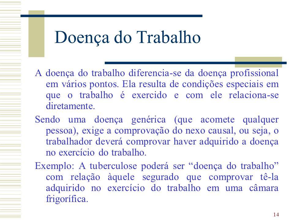 14 Doença do Trabalho A doença do trabalho diferencia-se da doença profissional em vários pontos.