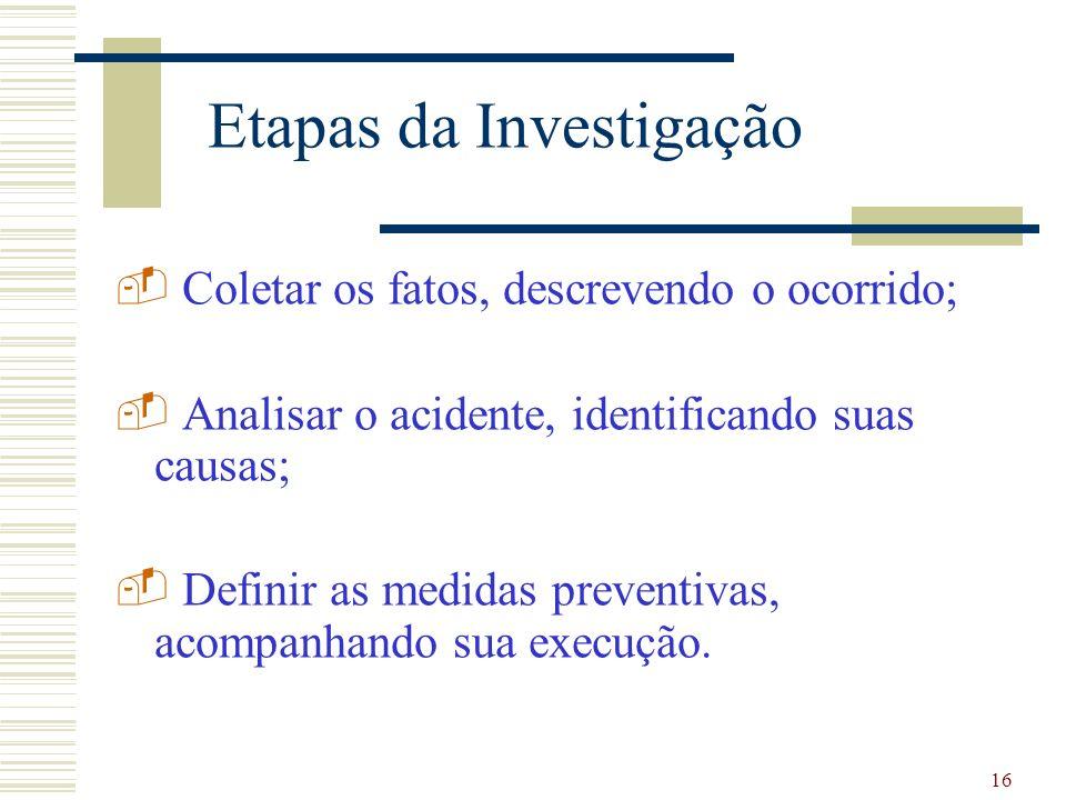 16 Etapas da Investigação - Coletar os fatos, descrevendo o ocorrido; - Analisar o acidente, identificando suas causas; - Definir as medidas preventivas, acompanhando sua execução.