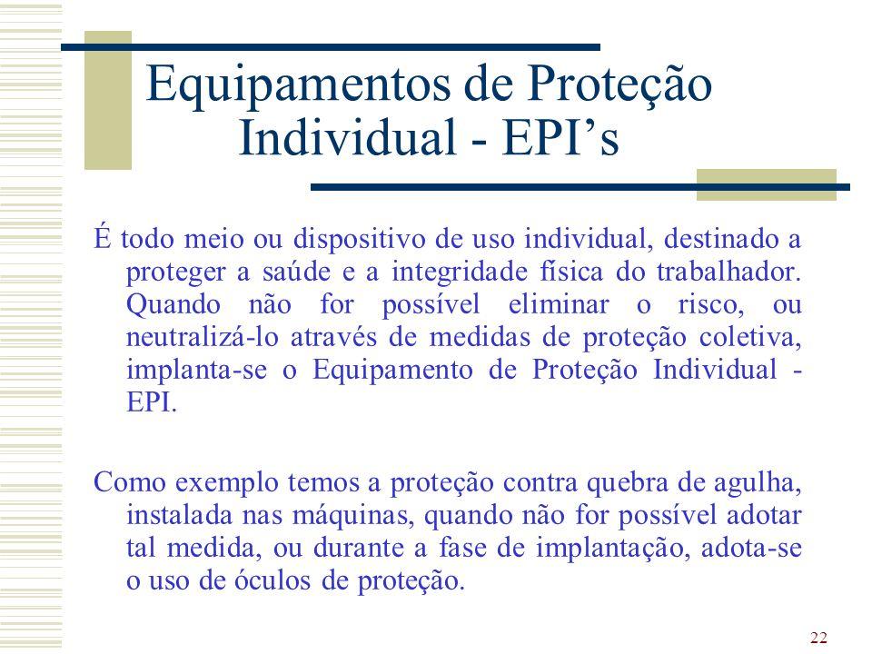 22 Equipamentos de Proteção Individual - EPIs É todo meio ou dispositivo de uso individual, destinado a proteger a saúde e a integridade física do trabalhador.