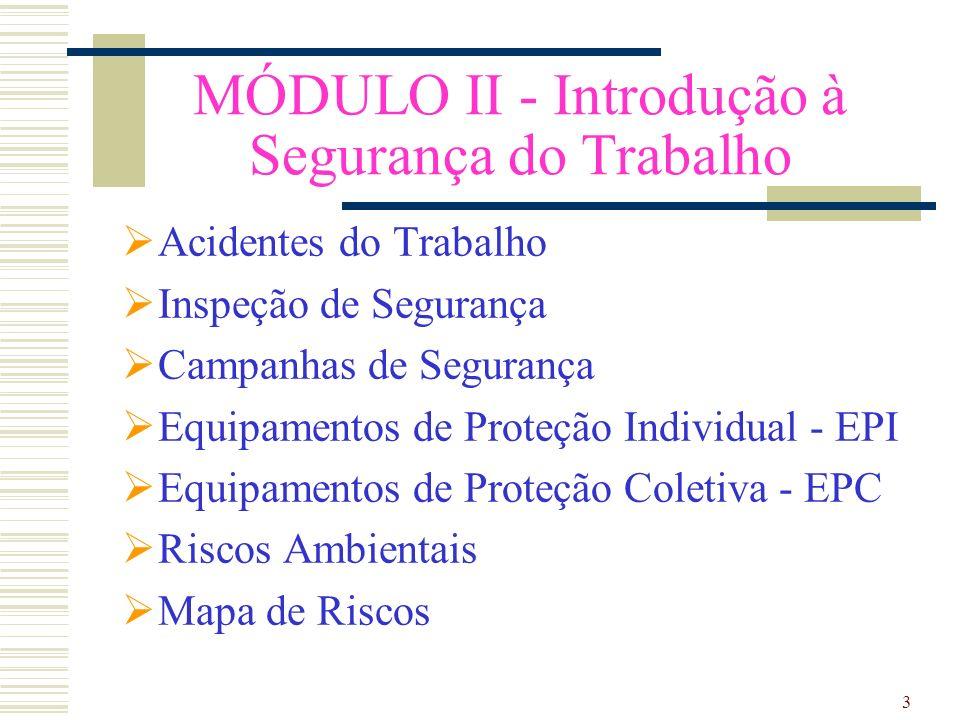 3 MÓDULO II - Introdução à Segurança do Trabalho Acidentes do Trabalho Inspeção de Segurança Campanhas de Segurança Equipamentos de Proteção Individual - EPI Equipamentos de Proteção Coletiva - EPC Riscos Ambientais Mapa de Riscos