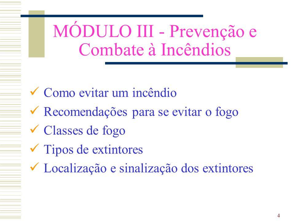 4 MÓDULO III - Prevenção e Combate à Incêndios Como evitar um incêndio Recomendações para se evitar o fogo Classes de fogo Tipos de extintores Localização e sinalização dos extintores