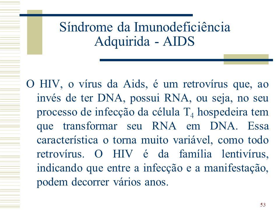 53 Síndrome da Imunodeficiência Adquirida - AIDS O HIV, o vírus da Aids, é um retrovírus que, ao invés de ter DNA, possui RNA, ou seja, no seu processo de infecção da célula T 4 hospedeira tem que transformar seu RNA em DNA.