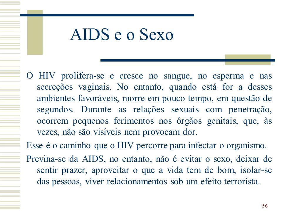 56 AIDS e o Sexo O HIV prolifera-se e cresce no sangue, no esperma e nas secreções vaginais.