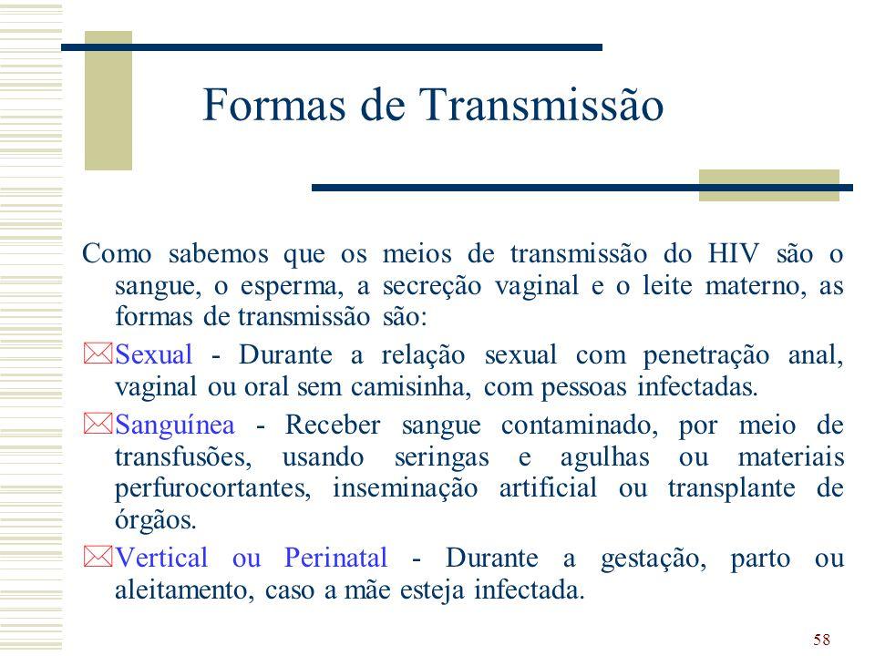 58 Formas de Transmissão Como sabemos que os meios de transmissão do HIV são o sangue, o esperma, a secreção vaginal e o leite materno, as formas de transmissão são: *Sexual - Durante a relação sexual com penetração anal, vaginal ou oral sem camisinha, com pessoas infectadas.