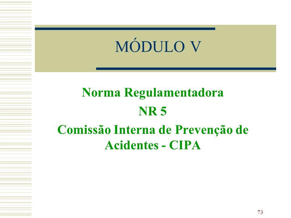 73 MÓDULO V Norma Regulamentadora NR 5 Comissão Interna de Prevenção de Acidentes - CIPA