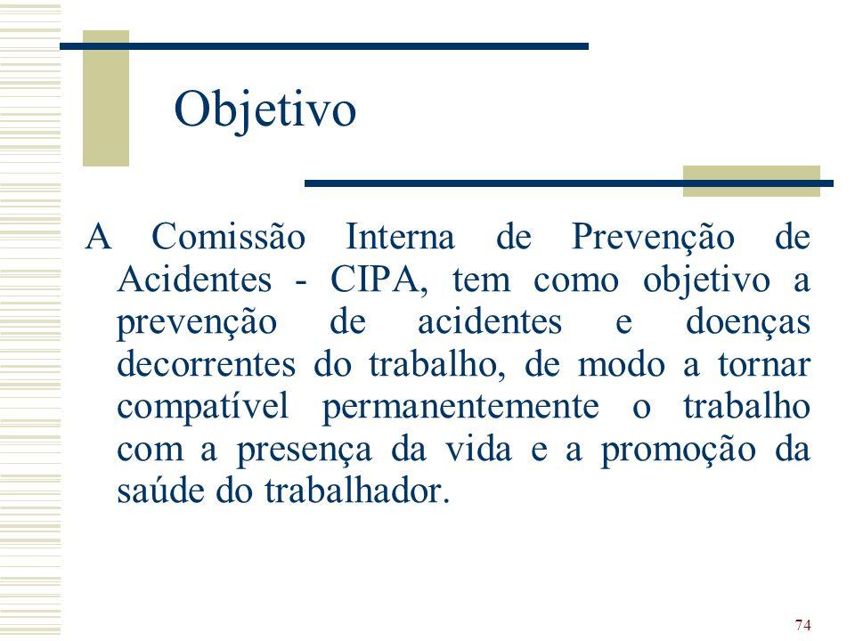 74 Objetivo A Comissão Interna de Prevenção de Acidentes - CIPA, tem como objetivo a prevenção de acidentes e doenças decorrentes do trabalho, de modo a tornar compatível permanentemente o trabalho com a presença da vida e a promoção da saúde do trabalhador.