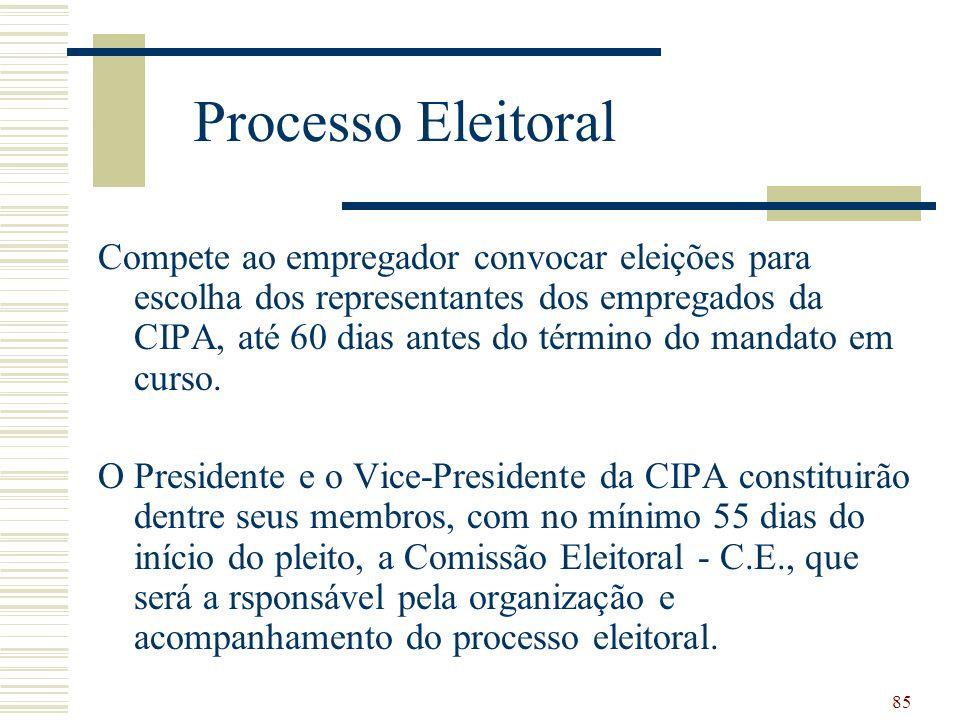 85 Processo Eleitoral Compete ao empregador convocar eleições para escolha dos representantes dos empregados da CIPA, até 60 dias antes do término do mandato em curso.