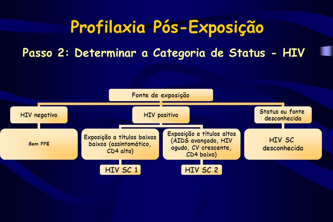 Profilaxia Pós-Exposição Passo 3: Determinar a Recomendação da PPE ECHIV SCRecomendação 11Profilaxia pode não ser desejada 12Considerar regime básico 21Recomendar regime básico 22Recomendar regime expandido 31 ou 2Recomendar regime expandido DesconhecidoConsiderar epidemiologia; considerar regime básico Duração: 4 semanas Regime básico: AZT (600 mg/dia) + 3TC (300mg/dia) Regime expandido: básico + indinavir (2,4 g/dia) ou nelfinavir (2,25 g/dia)