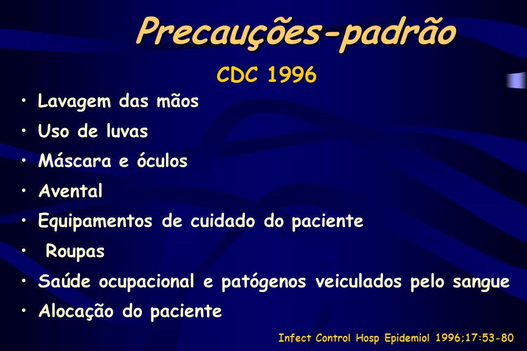 Isolamento CDC 1996 Categorias de transmissão: –Por aerossóis –Por gotículas –Por contato Possibilidade de uso empírico de precauções Sem recomendações especiais de isolamento para populações especiais Infect Control Hosp Epidemiol 1996;17:53-80
