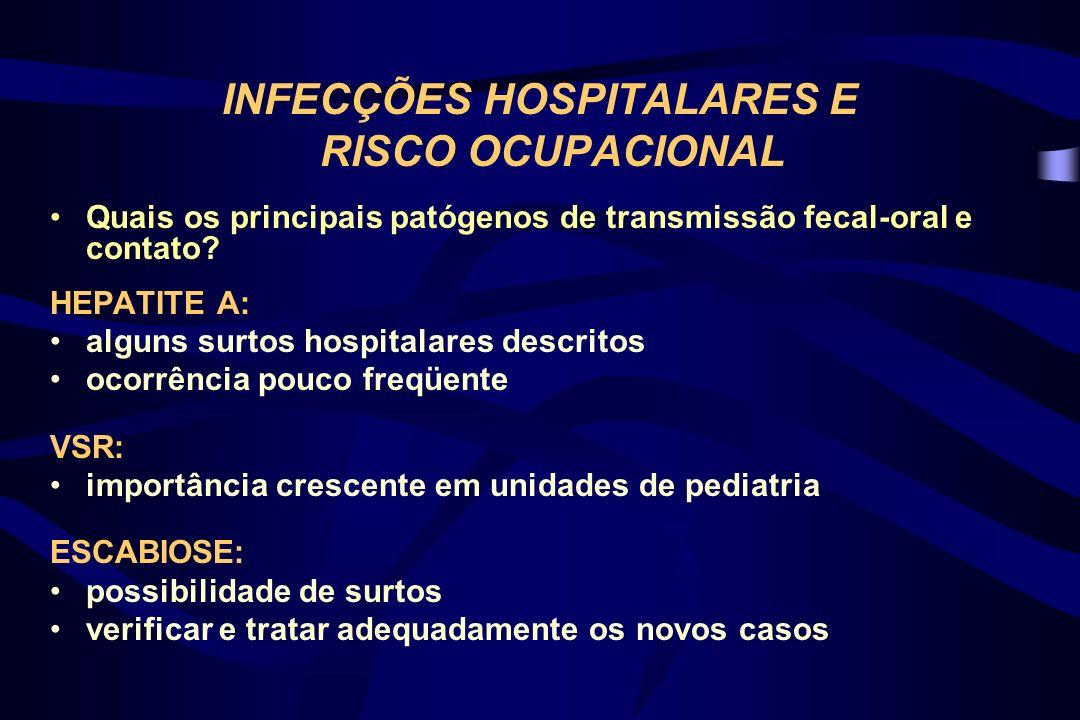 INFECÇÕES HOSPITALARES E RISCO OCUPACIONAL Quais as estratégias no campo da prevenção.