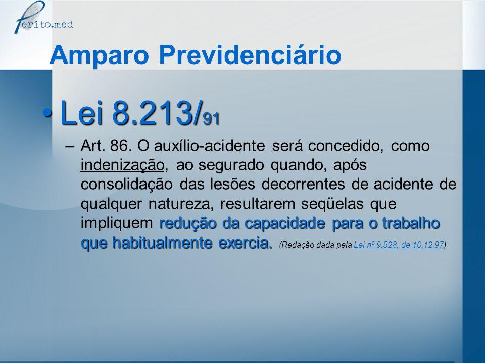 Amparo Previdenciário Lei 8.213/ 91Lei 8.213/ 91 redução da capacidade para o trabalho que habitualmente exercia. –Art. 86. O auxílio-acidente será co