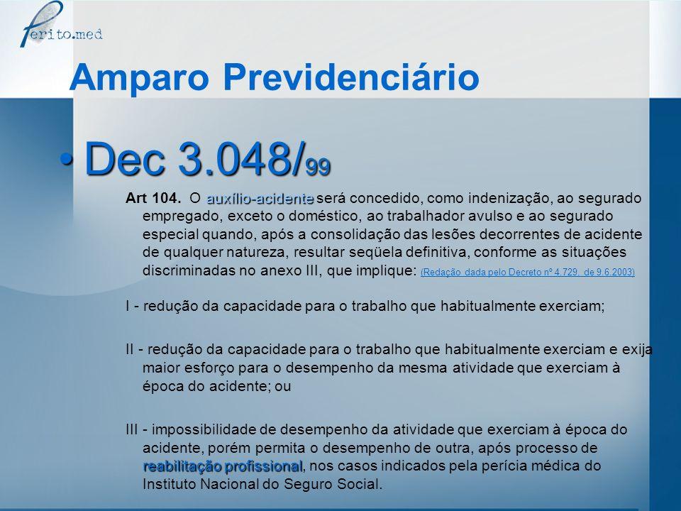 Amparo Previdenciário Dec 3.048/ 99Dec 3.048/ 99 auxílio-acidente Art 104. O auxílio-acidente será concedido, como indenização, ao segurado empregado,