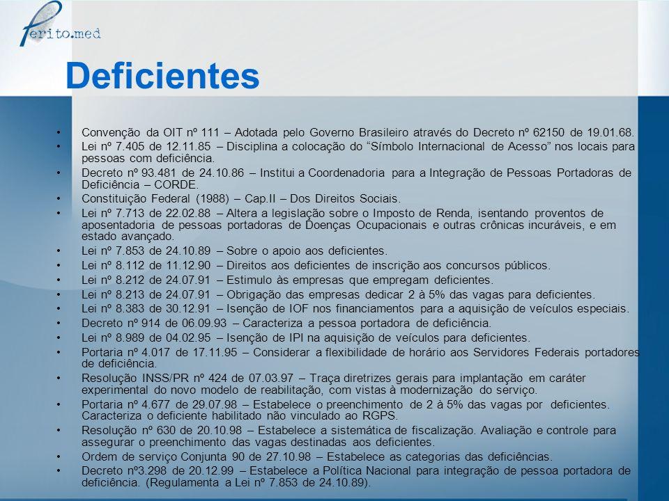 Deficientes Convenção da OIT nº 111 – Adotada pelo Governo Brasileiro através do Decreto nº 62150 de 19.01.68. Lei nº 7.405 de 12.11.85 – Disciplina a