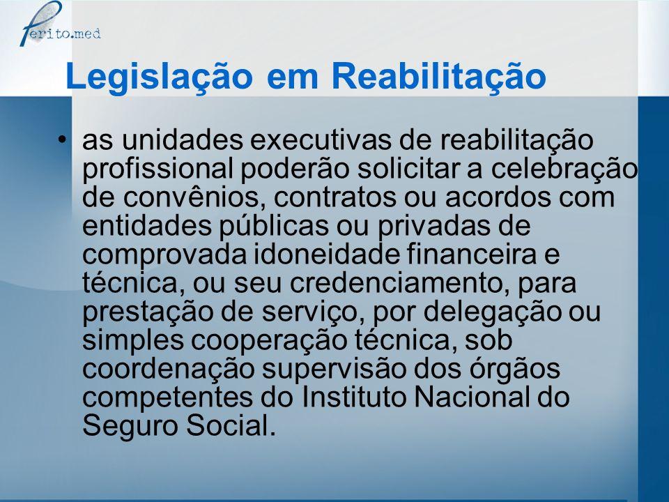 as unidades executivas de reabilitação profissional poderão solicitar a celebração de convênios, contratos ou acordos com entidades públicas ou privad