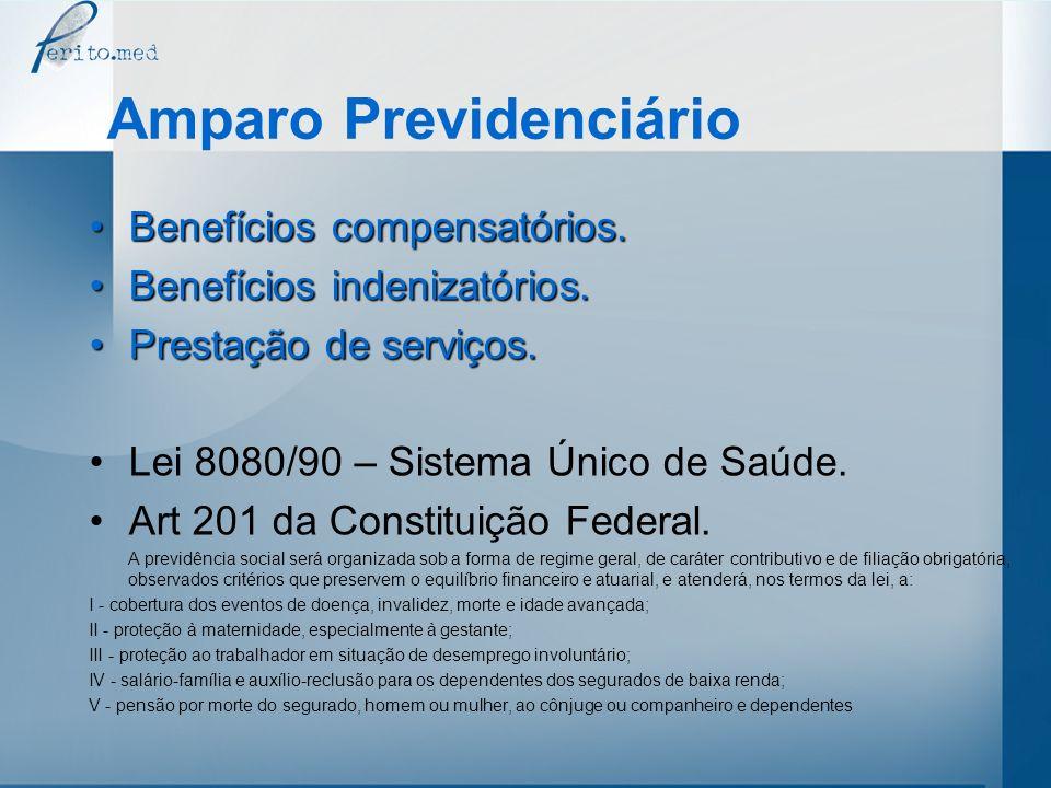 Amparo Previdenciário Benefícios compensatórios:Benefícios compensatórios: –aposentadoria por invalidez; –aposentadoria por idade; –auxílio-doença; –salário-maternidade; –pensão por morte; –auxílio-reclusão.