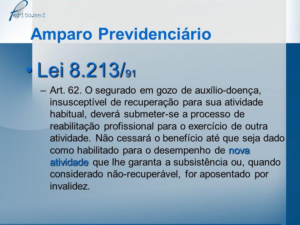 Amparo Previdenciário Lei 8.213/ 91Lei 8.213/ 91 nova atividade –Art. 62. O segurado em gozo de auxílio-doença, insusceptível de recuperação para sua