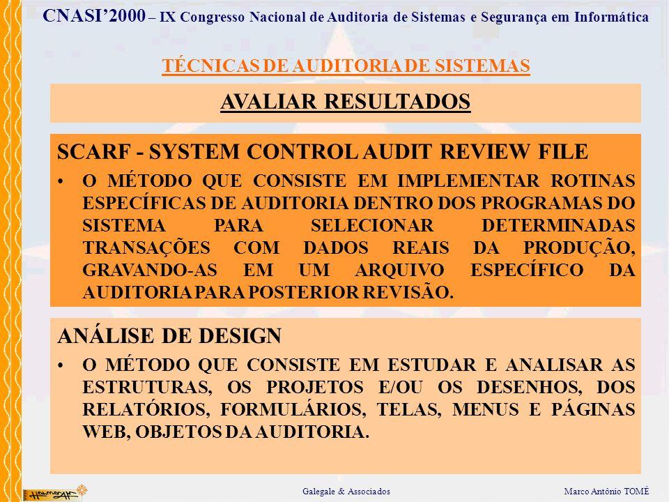 Marco Antônio TOMÉGalegale & Associados CNASI2000 – IX Congresso Nacional de Auditoria de Sistemas e Segurança em Informática TÉCNICAS DE AUDITORIA DE