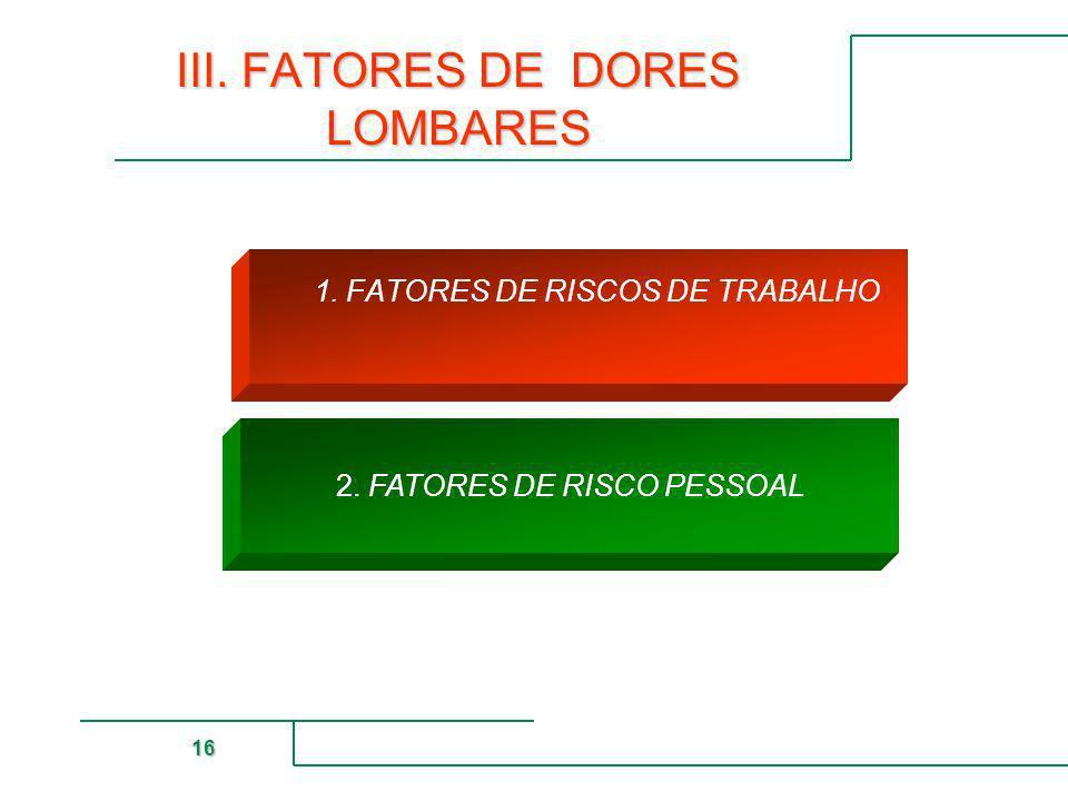 MUTUAL DE SEGURIDAD 16 2. FATORES DE RISCO PESSOAL III. FATORES DE DORES LOMBARES 1. FATORES DE RISCOS DE TRABALHO
