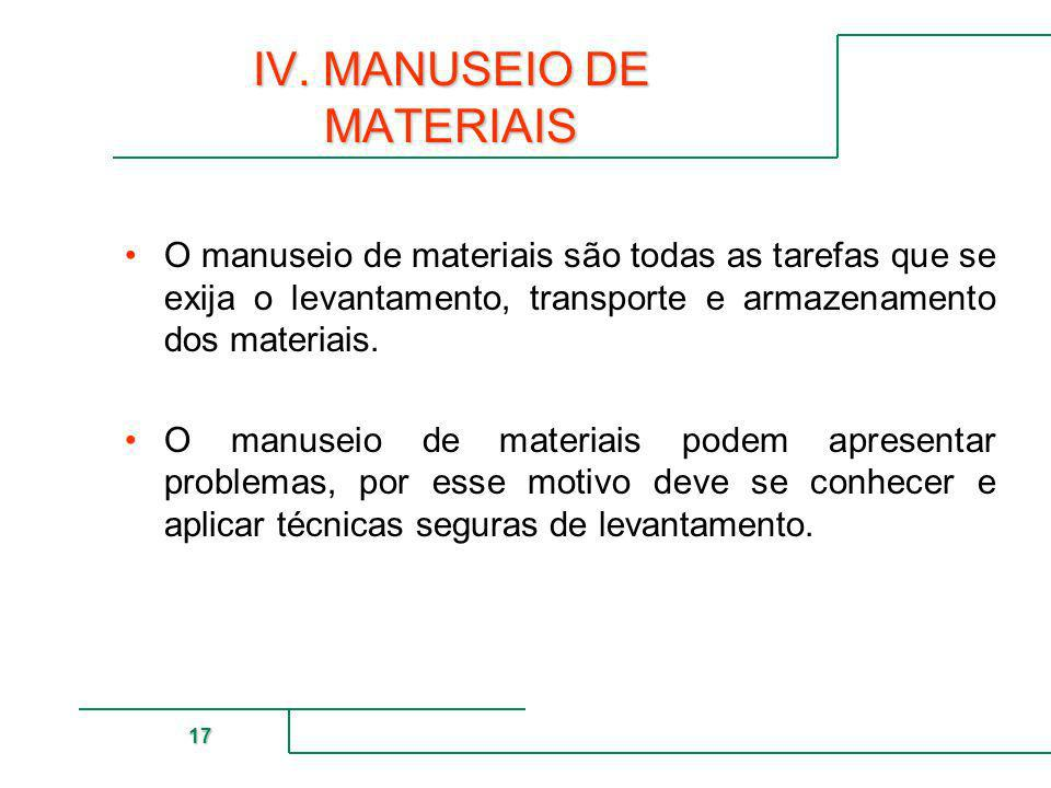 MUTUAL DE SEGURIDAD 17 IV. MANUSEIO DE MATERIAIS O manuseio de materiais são todas as tarefas que se exija o levantamento, transporte e armazenamento