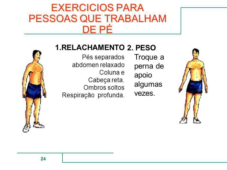 MUTUAL DE SEGURIDAD 24 EXERCICIOS PARA PESSOAS QUE TRABALHAM DE PÉ 1.RELACHAMENTO Pés separados abdomen relaxado Coluna e Cabeça reta. Ombros soltos R