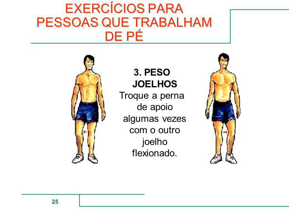 MUTUAL DE SEGURIDAD 25 3. PESO JOELHOS Troque a perna de apoio algumas vezes com o outro joelho flexionado. EXERCÍCIOS PARA PESSOAS QUE TRABALHAM DE P