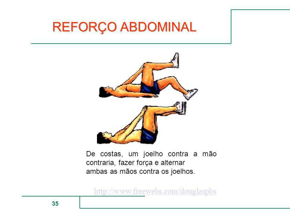 MUTUAL DE SEGURIDAD 35 REFORÇO ABDOMINAL De costas, um joelho contra a mão contraria, fazer força e alternar ambas as mãos contra os joelhos. http://w