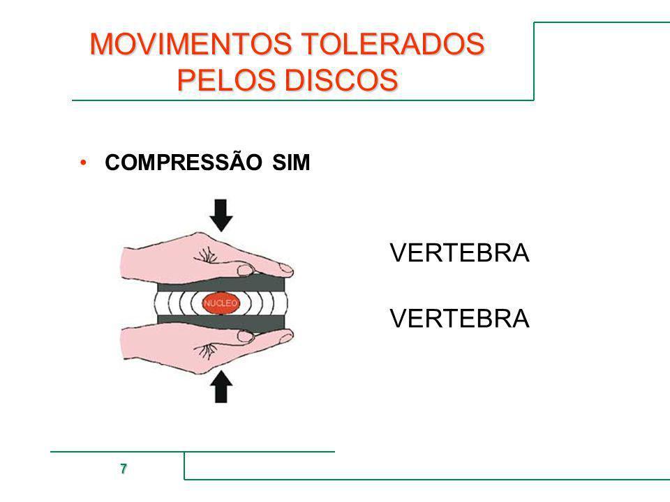 MUTUAL DE SEGURIDAD 7 MOVIMENTOS TOLERADOS PELOS DISCOS COMPRESSÃO SIM VERTEBRA