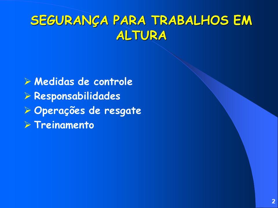 2 Medidas de controle Responsabilidades Operações de resgate Treinamento SEGURANÇA PARA TRABALHOS EM ALTURA