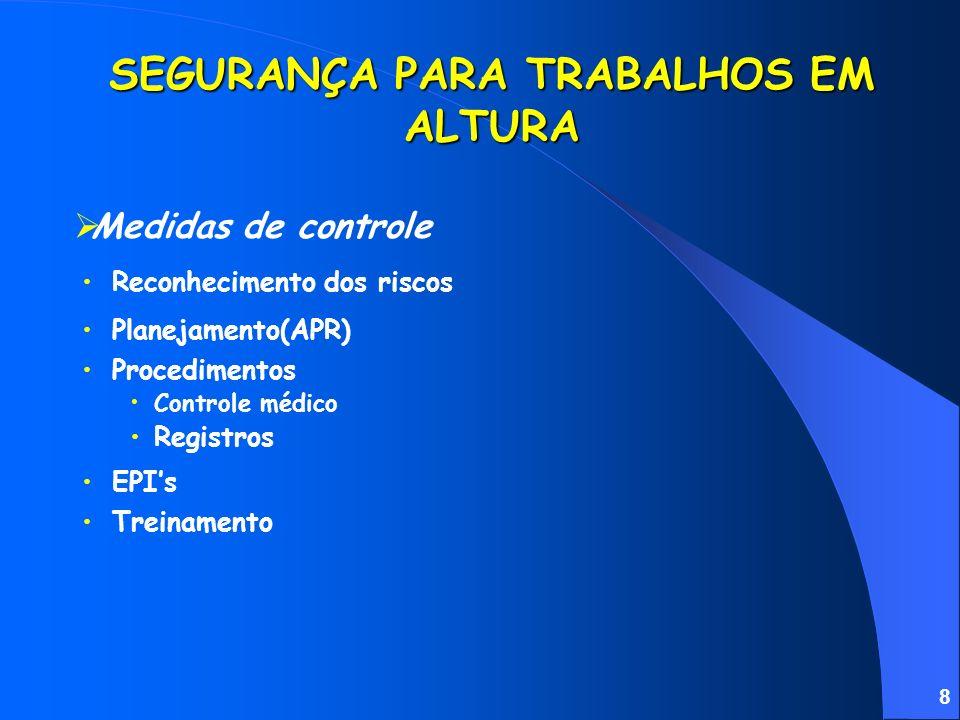 8 SEGURANÇA PARA TRABALHOS EM ALTURA Reconhecimento dos riscos Procedimentos Controle médico Registros Medidas de controle EPIs Treinamento Planejamento(APR)