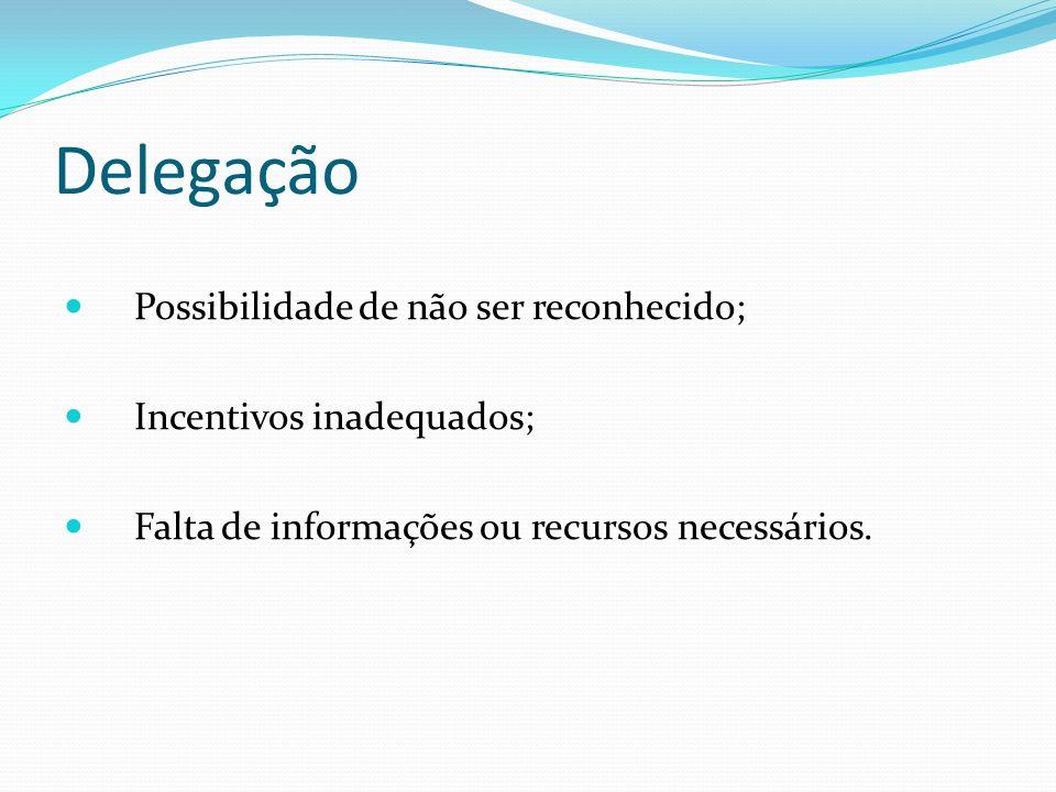 Delegação Possibilidade de não ser reconhecido; Incentivos inadequados; Falta de informações ou recursos necessários.