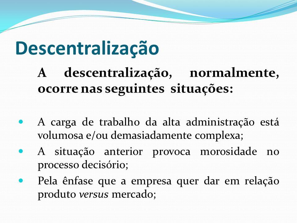 Descentralização A descentralização, normalmente, ocorre nas seguintes situações: A carga de trabalho da alta administração está volumosa e/ou demasia