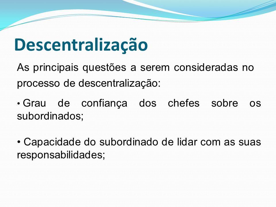 Descentralização As principais questões a serem consideradas no processo de descentralização: Grau de confiança dos chefes sobre os subordinados; Capa