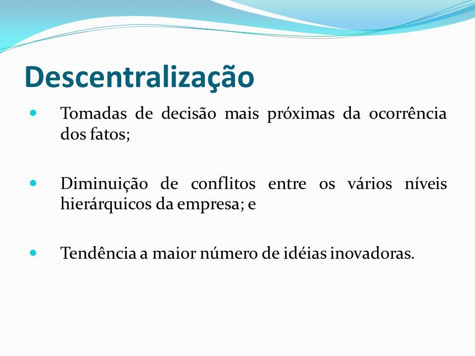 Descentralização Tomadas de decisão mais próximas da ocorrência dos fatos; Diminuição de conflitos entre os vários níveis hierárquicos da empresa; e T