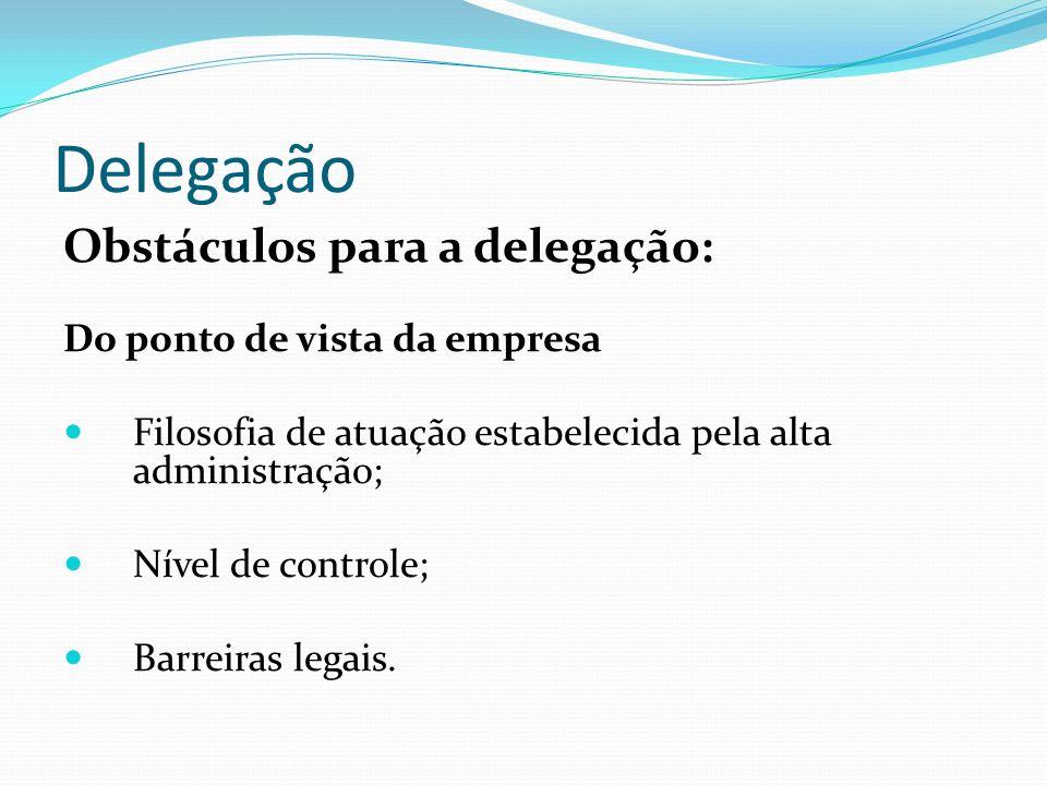 Delegação Obstáculos para a delegação: Do ponto de vista da empresa Filosofia de atuação estabelecida pela alta administração; Nível de controle; Barr