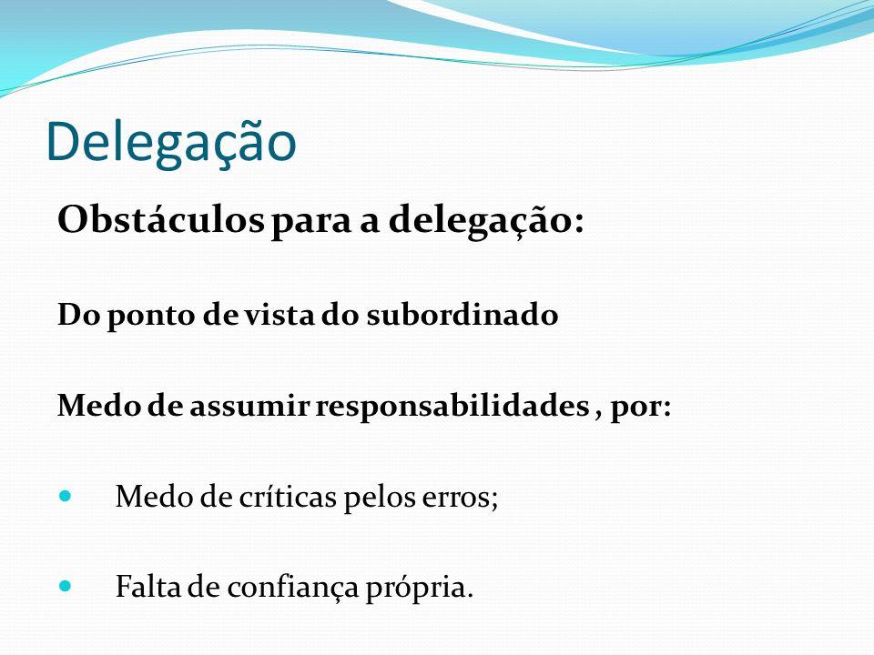 Delegação Obstáculos para a delegação: Do ponto de vista do subordinado Medo de assumir responsabilidades, por: Medo de críticas pelos erros; Falta de
