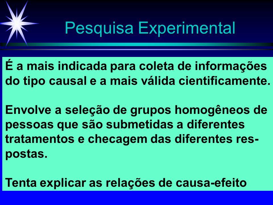 Pesquisa Experimental É a mais indicada para coleta de informações do tipo causal e a mais válida cientificamente. Envolve a seleção de grupos homogên