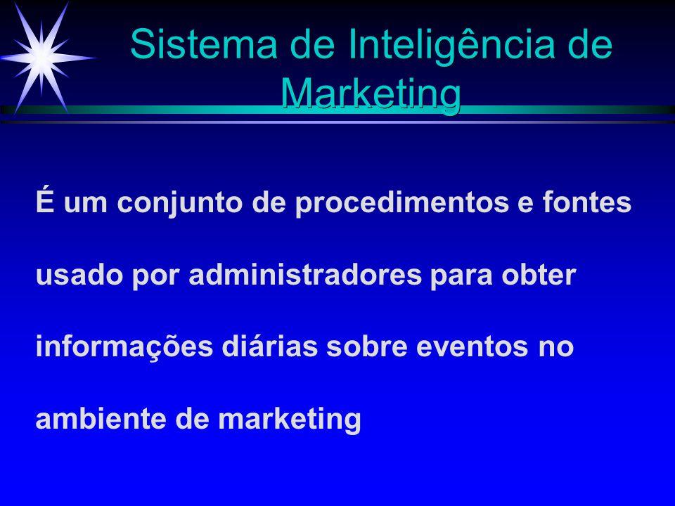 Sistema de Inteligência de Marketing É um conjunto de procedimentos e fontes usado por administradores para obter informações diárias sobre eventos no