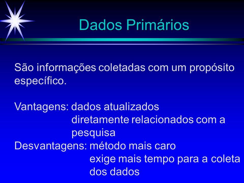 Dados Primários São informações coletadas com um propósito específico. Vantagens: dados atualizados diretamente relacionados com a pesquisa Desvantage