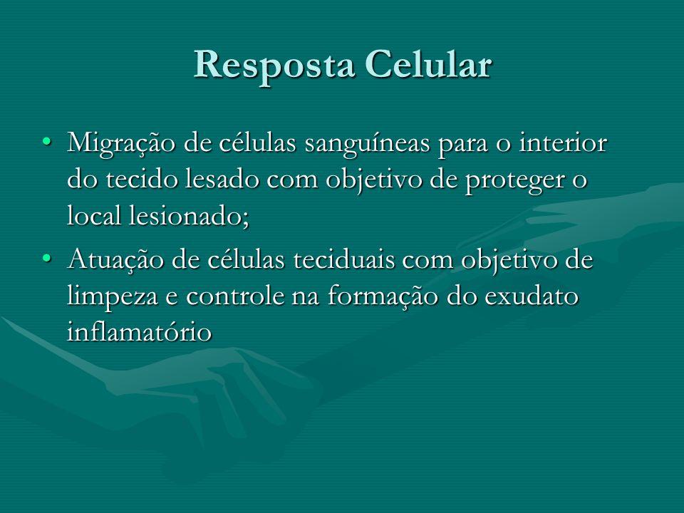 Resposta Celular Migração de células sanguíneas para o interior do tecido lesado com objetivo de proteger o local lesionado;Migração de células sanguí