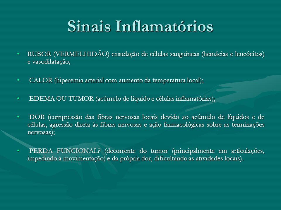 Sinais Inflamatórios RUBOR (VERMELHIDÃO) exsudação de células sanguíneas (hemácias e leucócitos) e vasodilatação;RUBOR (VERMELHIDÃO) exsudação de célu