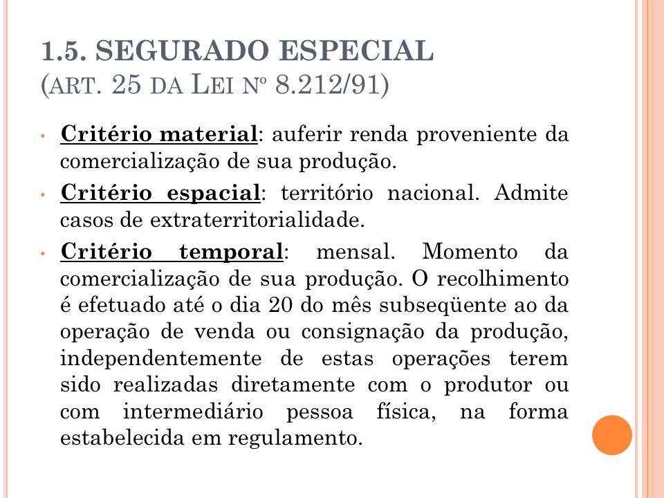1.5. SEGURADO ESPECIAL ( ART. 25 DA L EI Nº 8.212/91) Critério material : auferir renda proveniente da comercialização de sua produção. Critério espac